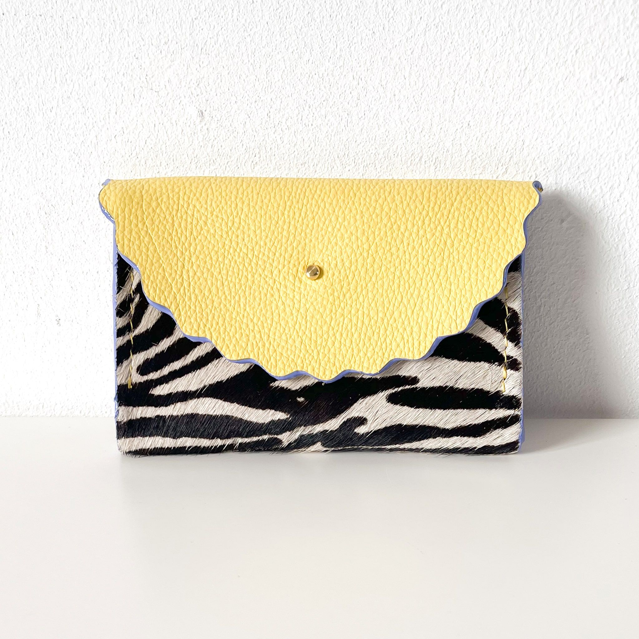 Dora Purse in  Zebra Print Hair On Hide & Summer Yellow Leather with  Hand Painted Lilac Edges